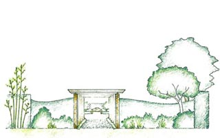 Formal pergola gives structure to this family garden and frames the bench.