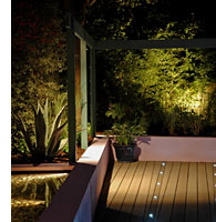 Garden lighting is used in the decking to enhance the plan.